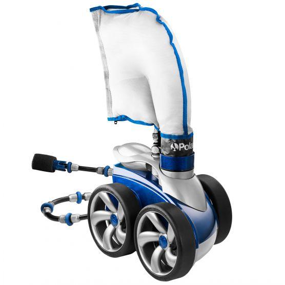 robot piscine à pression blanc et bleu statique sur fond blanc