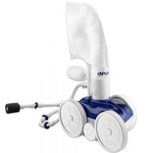 robot piscine hydraulique  a pression Polaris bleu et blanc statique sur fond blanc