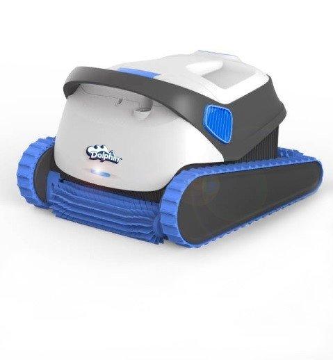 robot piscine dolphin S300 blanc et bleu statique sur fond blanc