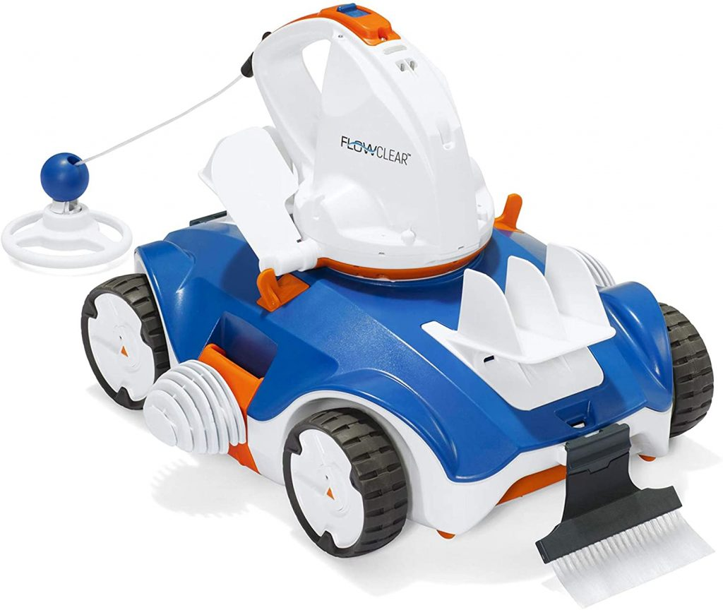 robot piscine electrique bestway blanc, bleu et orange statique