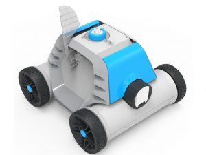 Robot piscine bestway thetis sur fond blanc statique de couleur blanc et bleu